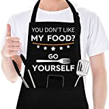 Funny Aprons for Men, Women with 2 Pockets, Birthday Gifts for Men, Dad, Boyfriend, Kitchen Chef Cooking Mens BBQ Grilling Apron