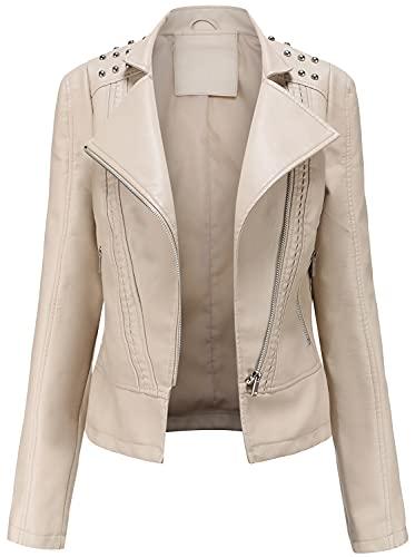 Chaquetas De Piel Sintética De Las Mujeres Zipper Moto Biker Breve Slim Abrigo Outwear,Blanco,S