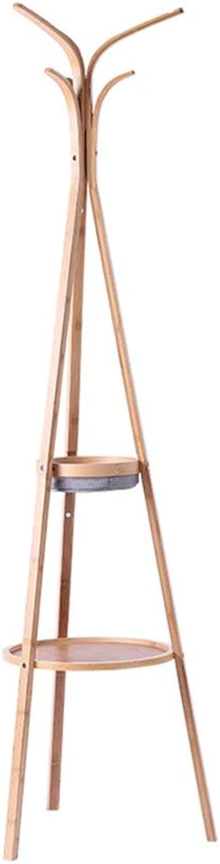 Gaoye Coat Rack, 2 Layers of Multi-Functional Modern Minimalist Coat Rack Floor Bamboo Assembly Mobile Hanger Creative