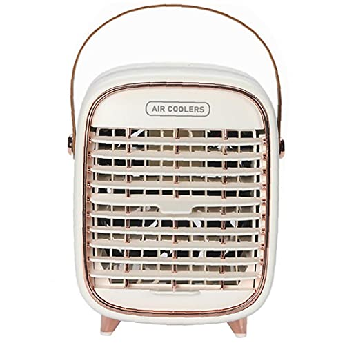 NIDONE Acondicionador de Aire del Ventilador cargable 2000mah portátil refrigerador de Aire del Ventilador 3 velocidades Escritorio Mini refrigerador evaporativo con la manija para la Seguridad del