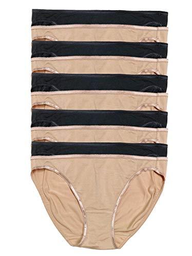Felina | So Smooth Modal Low Rise Bikini | Panty | 10 Pack (Neutral Black, X-Large)