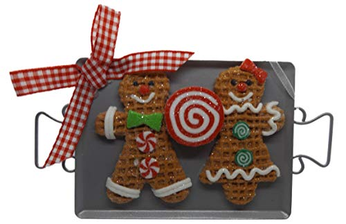 On Holiday Gingerbread Cookie Sheet B Gingerbread Boy and Girl Cookies with Peppermint Swirl Candy Christmas Tree Ornament