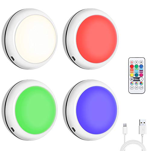 Puck Lights with Remote Elfeland Rechargeable LED Closet Lights with 16 Colors USB Wireless Puck Lights Battery Powered RGB Under Cabinet Lighting with Dimmer & Timing Function (4 Pack)