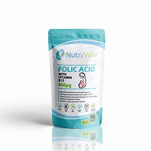 Folic Acid 400µg with Vitamin B12 | 90 Tablets | Pregnancy & Tiredness Support