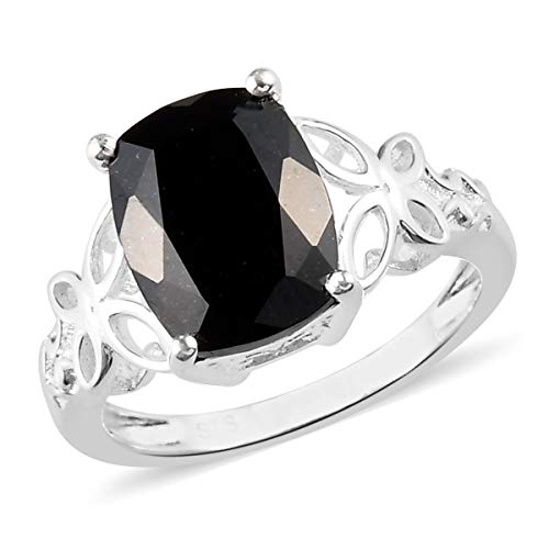 925 Sterling Silver Cushion Black Tourmaline Engagement Ring for Women Size 8 Cttw 2.5
