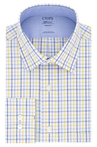 Chaps Men's Dress Shirts Regular Fit Stretch Collar Check, Saffron, 18' Neck 34'-35' Sleeve (XX-Large)
