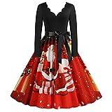 FSFA Robe de Soirée de Noël Femme Automne Hiver à Manches Longues Robe Imprimé Père Noël Années 1950 Soirée Robe De Bal avec Noeud Papillon Robe Cocktail Vintage (#01-Style de Noël, XXL)