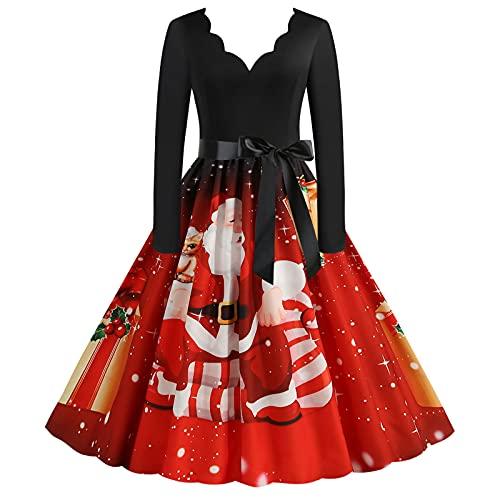 BOOMJIU Robe de Noël pour femme, années 1950, manches longues, décontractée, col en V, robe de bal, ligne A, élégante, midi imprimée, pour les fêtes de Noël