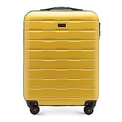 Stabiler Koffer-Trolley Handgepäck von WITTCHEN ABS 54 x 39 x 23 cm 2.7 kg 38 L Gelb Bordgepäck Bordcase 56-3A-381-85