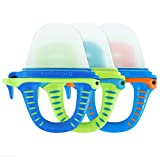 teetherpop 3 Pack - Fillable Teethers for Babies, Breastmilk, Purees, Water, Smoothies, Juice, Baby Food & More (Blue Multicolored)