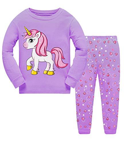 Little Hand Schlafanzug Mädchen Einhorn Kinder Zweiteiliger Baumwolle Lange àrmel Nachtwäsche T-Shirt und Hose, Einhorn-1, 98 (HerstellerGröße: 100)