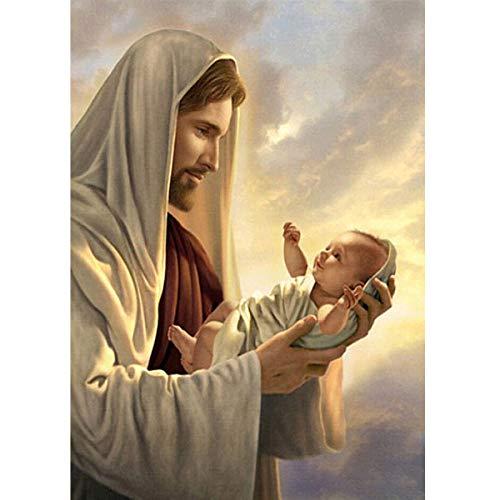MXJSUA DIY 5D Diamant Malerei Runde Bohrer Kits Strass Bild Kunsthandwerk für Hauptwanddekor 30x40 cm Jesus Christus Religiöse