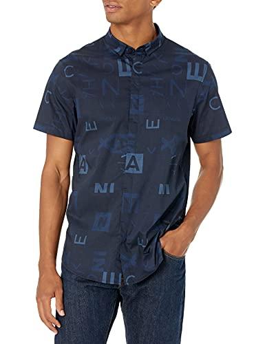 ARMANI EXCHANGE Navy Crop&Square Allover Camicia, XL Uomo