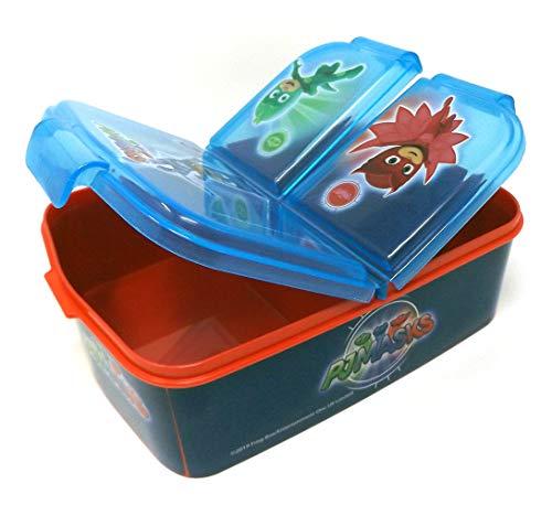 PJ Masks Kinder Brotdose mit 3 Fächern, Kids Lunchbox,Bento Brotbox für Kinder - ideal für Schule, Kindergarten oder Freizeit