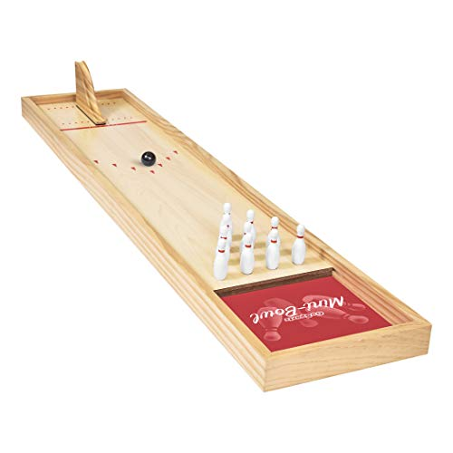 GoSports Tabletop Mini Bowling Game Set - Premium Wooden Construction with Dry Erase Scorecard, Perfect for Kids & Adults