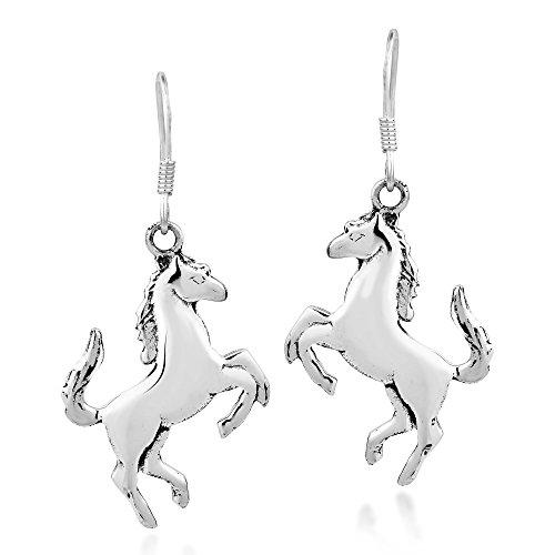 Prancing Equine Horse .925 Sterling Silver Dangle Earrings