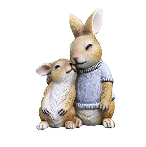MISS KANG Esculturas Garden Conejo Escultura, Decoración Al Aire Libre Decoración De Animales, Obra del Jardín, Línea De Arte, 10x15x22cm Qingchunw