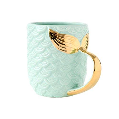 ZaH 15 oz Mermaid Mug Ceramic Coffee Mugs Big Cute Cups Cappuccino Teacup Birthday Bridal Shower Engagement Wedding Gifts Soup Mug for Men Women Kids Girls Boys (Gold Handle Blue Mermaid Tail)
