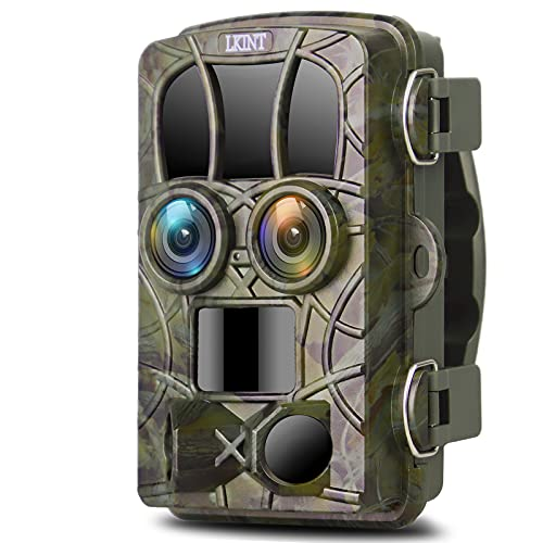 Trail Camera 20MP 4K Night Vision Dual-Lens Game Hunting Camera, 120° Wide Angle Outdoor Wildlife Scouting Camera with Infrared LEDs Night Vision 0.2s Trigger Speed, 82ft Motion Activated, Waterproof