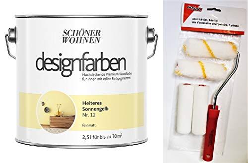 Schöner Wohnen designfarben feinmatte Wandfarbe für innen 2,5 Liter mit go/on Rollen-Set 5-tlg (Nr 12 Heiteres Sonnengelb)