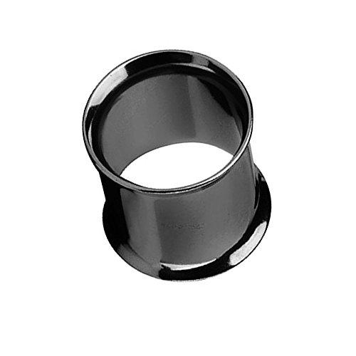 Taffstyle Túnel dilatador para la oreja, de acero inoxidable, con cierre de rosca doble, 5 mm, color negro