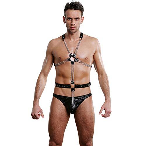 UPANV Herren Sexy Leder Brust Einteilig Body Harness Gürtel Verstellbare Schnallenriemen Clubwear Kostüm Schwarz