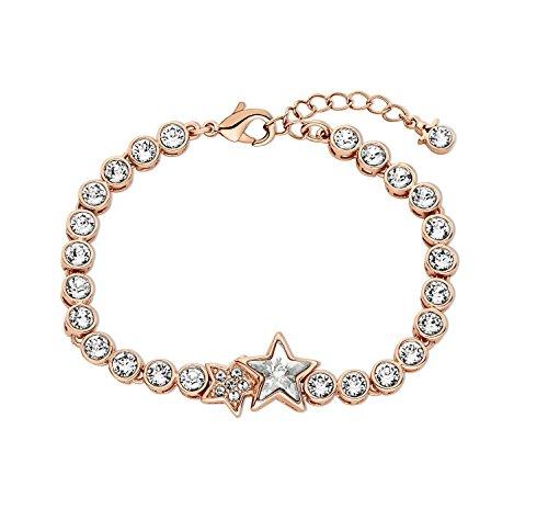 Noelani Damen-Armband Stern rosévergoldet veredelt mit Swarovski Kristallen 17+3 cm