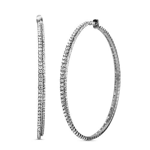 Steve Madden 70mm Large Rhinestone Hoop Earrings for Women (White)