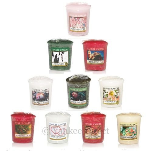 Yankee Candle - Christmas Holiday Votive Samplers- Set of 10 - Includes Free Votive Holder!
