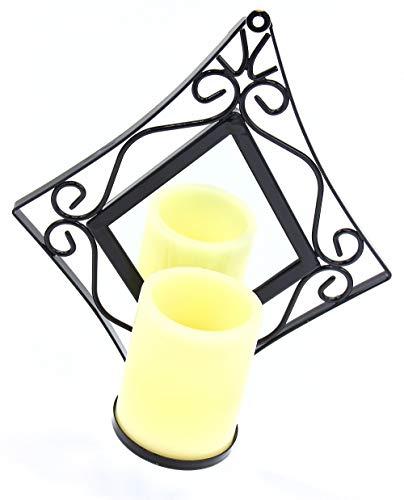 Wandhouder met LED-kaars en spiegel 13861