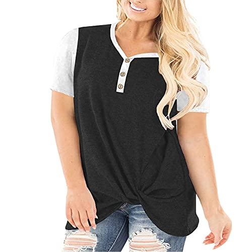 Shineshae Plus Size Blusen & Tuniken Für Damen Mode Buttons Spleißen Tuniken Sommer Elegant Tops Casual Kurzarm V-Ausschnitt T-Shirt Lässige Einfarbige Nahtknopf Damenoberteil in Ãœbergröße