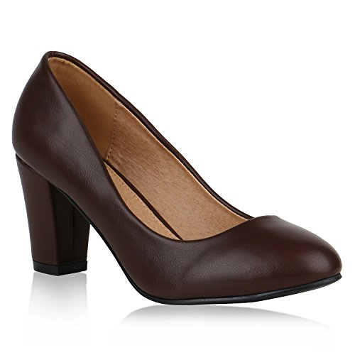 Damen Klassische Pumps Leder-Optik Schuhe Basic Block Mid Heels 149502 Braun Basic 38 Flandell