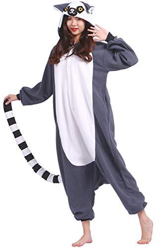 Pijamas Animal Disfraces Pijama Una Pieza Adulto Cosplay Anime Onesie Mujer Hombre Lémur