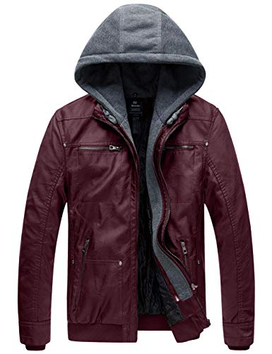 Wantdo Men's Faux Leather Jacket with Removable Hood Wine Red X-Large