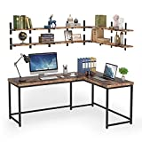 Tribesigns L Shaped Desk with 4 Tier Floating Shelf, 67 Inch Corner Desk with Storage Wall Mounted Shelf Set, Writing Study Gaming Table L-Shaped Computer Desk for Home Office
