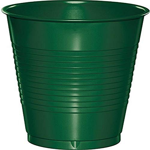 Creative Converting Touch of Color Premium Plastic Cups Party Supplies, 16 oz, Hunter Green