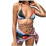 YANFANG BañAdor Mujer Sexy Sexybikini De 3 Piezas con Lazo Halter para Que Se BañA Una Falda Playa Cubrir,Bikini Cubrir,Rosa,XL