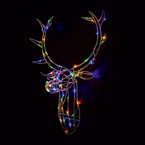 Sentik 85cm Light Up Reindeer Stag Head Metal Framed Deer Stags Head Christmas Xmas Wall Decoration Plug in with 80 LED's for Indoor Outdoor (Multi Colour)
