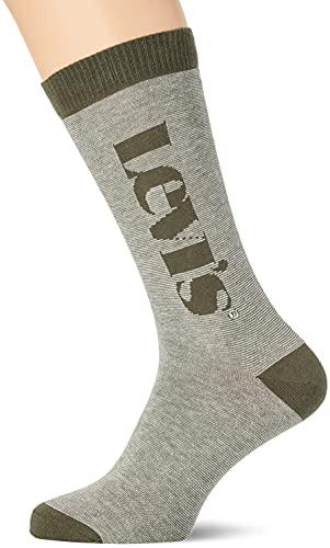 Levi's Stripe Cut Socks Calcetines Corte Micro Rayas con Logo, Khaki, 43 Regular Unisex Adulto