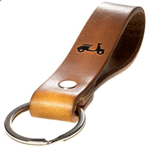 LIEBHARDT Schlüsselanhänger Leder Geschenk für deinen Lieblingsmensch ob Frauen Männer mit Roller in schwarz Gravur mit Liebe in Deutschland gefertigt