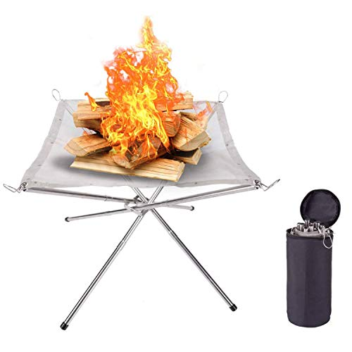 Onefeng Sports Portable Outdoor Camping Fire Pit 16.5 Inch Collapsing Steel Mesh Fireplace Folding Wood Holder Rack Burning Stove