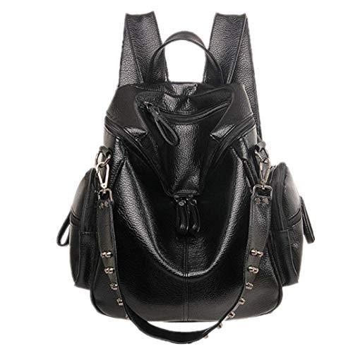 Maysurban Damen Rucksack Schultertasche mit Nieten PU Leder Daypack Modern Tagesrucksack Wasserdichte Handtasche für Mädchen Schwarz