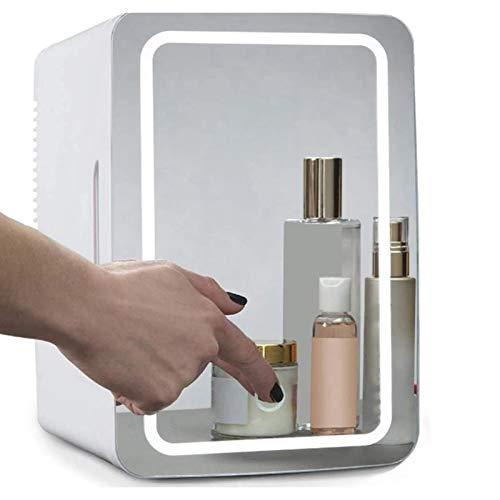 MZBZYU 8L Mini Nevera Pequeña Portátil Refrigerador con Iluminación LED y Espejo Maquillaje para Maquillaje y Cuidado La Piel Maquillaje Nevera Coche, 110V-240V/12V