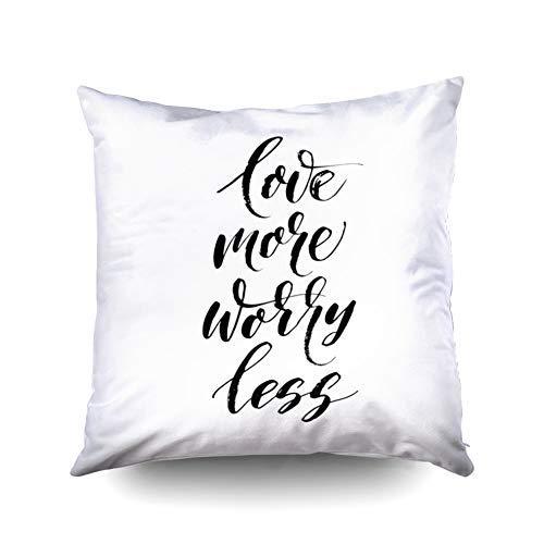 WH-CLA Throw Pillow Covers Holiday Love More Worry Less D Fondo De Letras Dibujadas A Mano Ilustración De Tinta Pincel Moderno Llamada Personalizada 45X45Cm Regalo De Cumpleaños Impresió