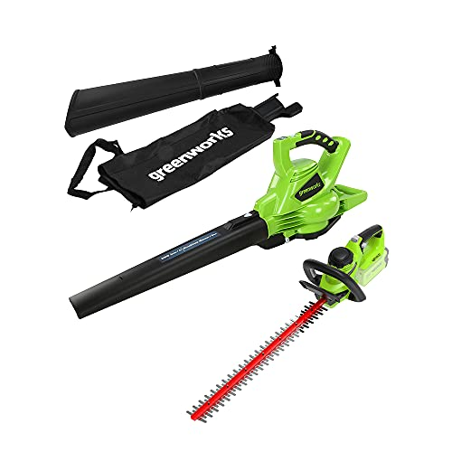 Greenworks Cordless Vacuum and Leaf Blower 2-in-1 GD40BV & Cordless Hedge Trimmer G40HT (Li-Ion 40 V 280 km/h Air Speed 61 cm Cutting Length 27 mm Cutting Thickness Without Battery or Charger)
