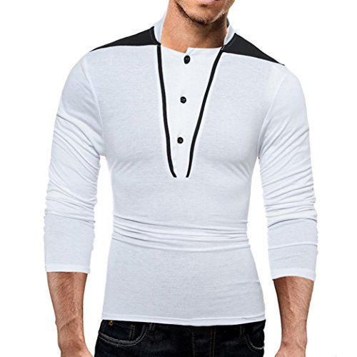ZYooh Premium High Collar Men's Long Sleeves,Fashion Button Stand-up Tight Casual Dress Shirt Blouse (L, White)
