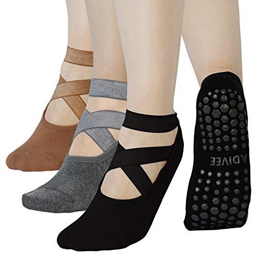 Yoga Socks, (3Pairs) Non Slip Pilates Socks with Grips for Women, Premium Women's Yoga Socks, Anti Skid Ballet Socks, Barre Socks, Perfect for Pilates, Barre, Ballet Dance, Workout, ADIVEE