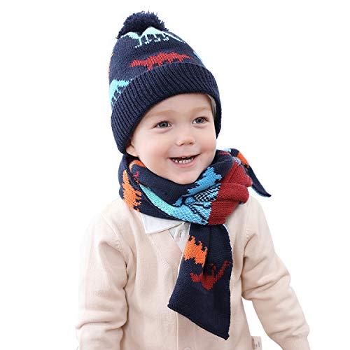 OhhGo 2-teiliges Set für Jungen und Mädchen, Mütze, Schal, Winter, Strickmütze, Halswärmer, für 1–4 Jahre M Marineblau-Dinosaurier