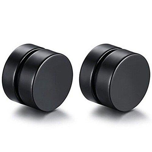 Amesii, orecchini da uomo rotondi, in acciaio inox, magnetici, per orecchie non forate e Lega, colore: Nero , cod. 35OQ13DT16PQA