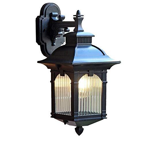 WMMCM wandlantaarn, voor buiten, downlight, vintage, roestvrij staal, zwart, van metaal, waterdicht, buitenmuur, wandlamp, decoratieve lampen